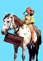 Pippi Langstrumpf und der Kleine Onkel als Postkarte